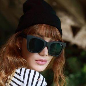 QUAY matte black square sunglasses